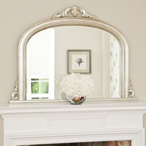 Tarnished Silver Beaded Overmantel - mirrors