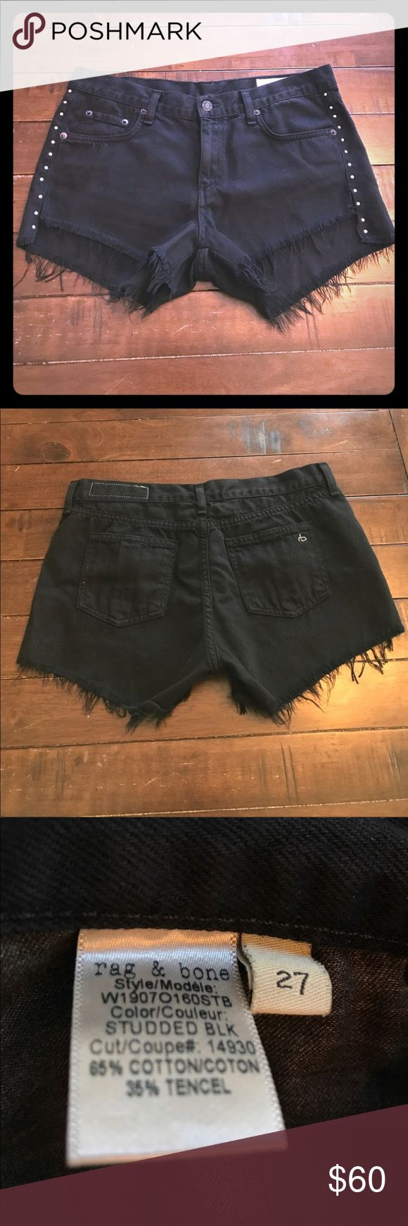 """Cut-off studded denim shorts rag & bone Cut-off studded denim shorts Rise 8"""", inseam in front 2"""", inseam in the back 3"""" Excellent condition! Were only worn once rag & bone Shorts Jean Shorts"""