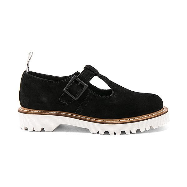 Dr. Martens Polley II T Bar Shoe (£100) ❤ liked on Polyvore featuring shoes, flats, dr martens shoes, oil resistant shoes, t strap flat shoes, dr. martens and t bar flat shoes