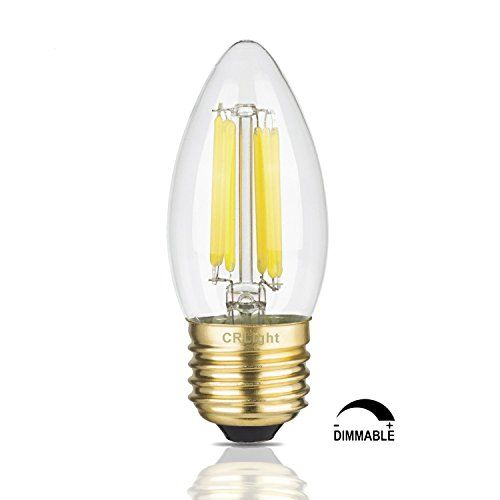 CRLight 6W Dimmable LED Filament Candle Light Bulb, 5000K Daylight (BRIGHT WHITE) 650LM, E26 Medium Base Chandelier Lamp, C35 Torpedo Shape Bullet Top, Clear Glass Cover, 65W Equivalent
