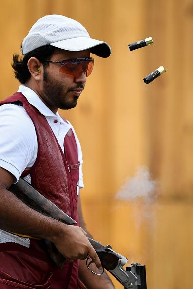 #RIO2016 Hamad Rashid of Qatar trains for the skeet competition at the Olympic Shooting Centre in Rio de Janeiro on August 4 ahead of the Rio 2016 Olympic...