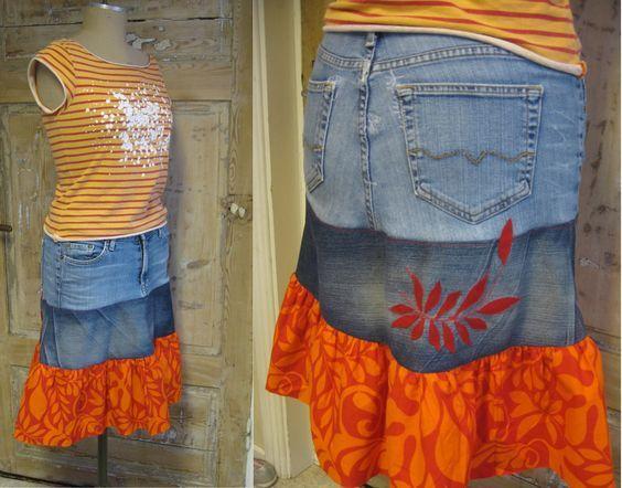 Efter att ha sett en bild på en fin jeanskjol beslutade jag mig en dag för att sy en egen kjol av ett par gamla jeans. Jag har använt den en hel del men ganska snart upptäckte jag att jeansen jag t…