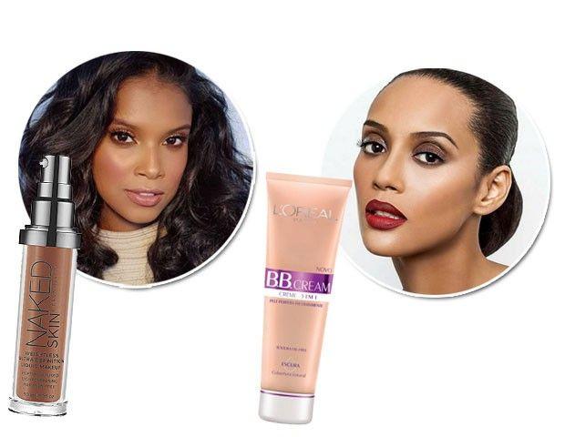 Aline Dias usa a base Nake Skin, da Urban Decay, e Taís usa o BB Cream da LOréal na cor escura para o dia a dia (Foto: Divulgação)