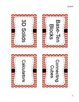 Free Math Manipulative Labels for EQAO