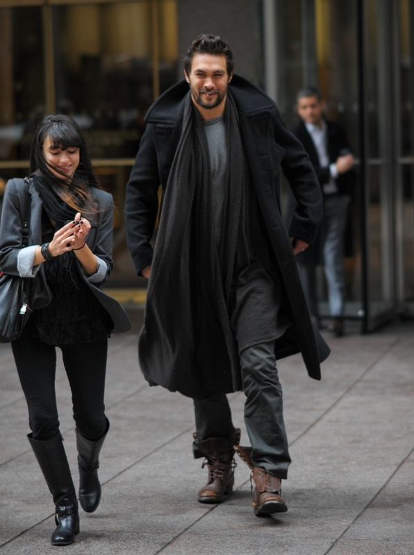 Jason Momoa out in NYC promoting the movie Bullet to the Head starring Sylvester Stallone.