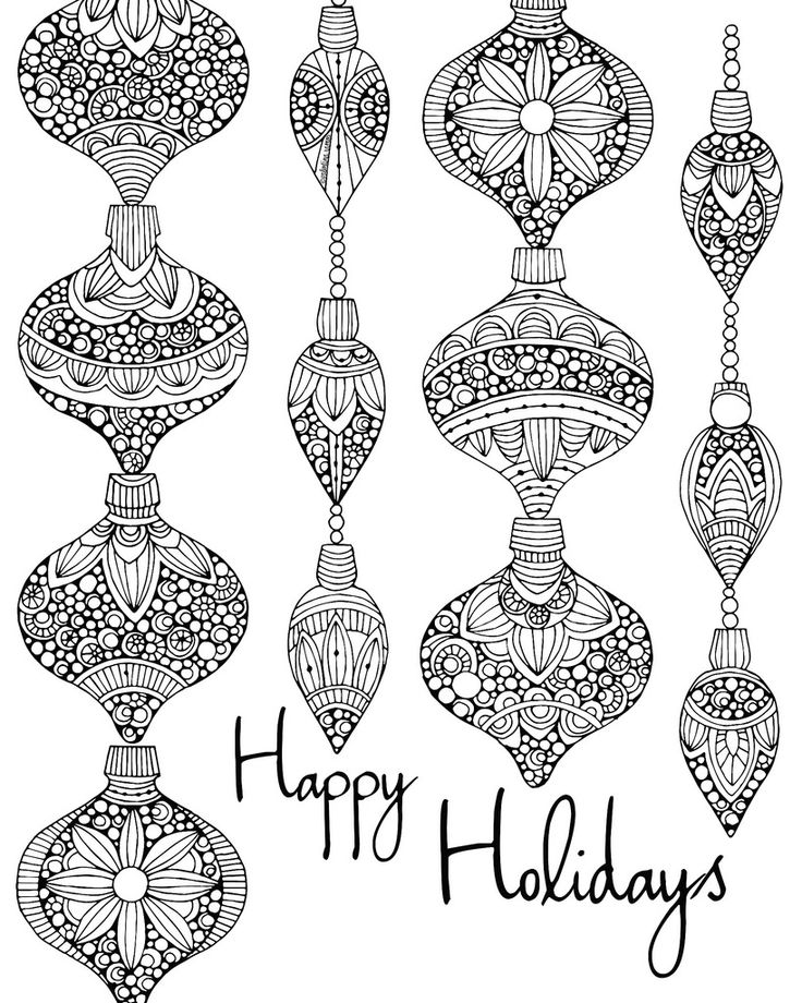 Happy Holidays - Free Coloring Page