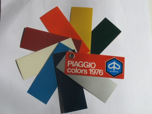 Piaggio Vespa Paint Swatches, 1976  • 108 Grigio Metallizato (Metallic Grey)  • 275 Blu Marine (Marine Blue)  • 402 Blu Cina (China Blue)  • 715 Biancospino (Hawthorn White)  • 880 Rosso Corallo (Coral Red)  • 919 Arancio (Orange)  • 935 Giallo Texas (Texas...