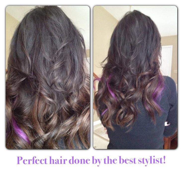 Dark Ombré with purple highlights Hair Ideas, Hair Beautiful, Hair ...