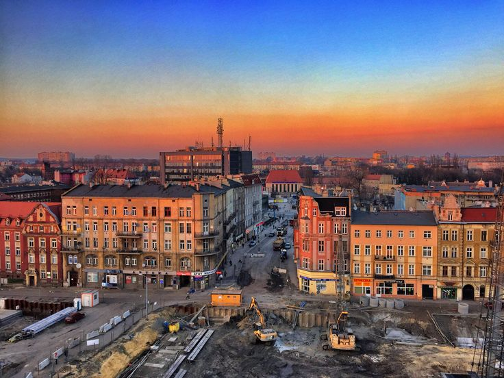 Zachód słońca na budowie DTŚ w Gliwicach (fot.A.Kustra) #gliwice #dtsgliwice #dts