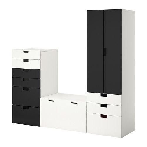 STUVA Opbergcombinatie - wit/zwart - IKEA