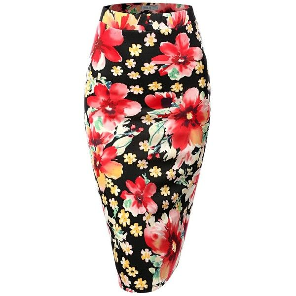SJSP Women Plus-size Flower Print Elastic Waist Band Scuba Fabric... (425 UYU) ❤ liked on Polyvore