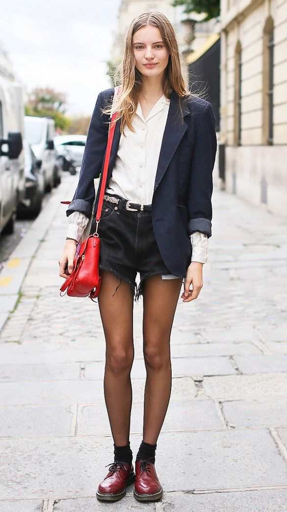 Wear cut-offs in the winter with sheer tights, a structured blazer, and chunky boots