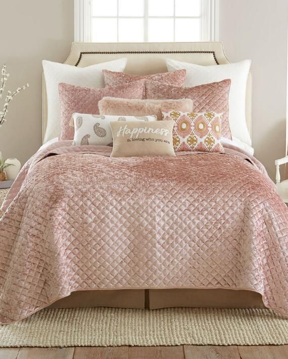 Blush Velvet Quilt Pink Bedrooms Glam Bedroom Pink Bedroom
