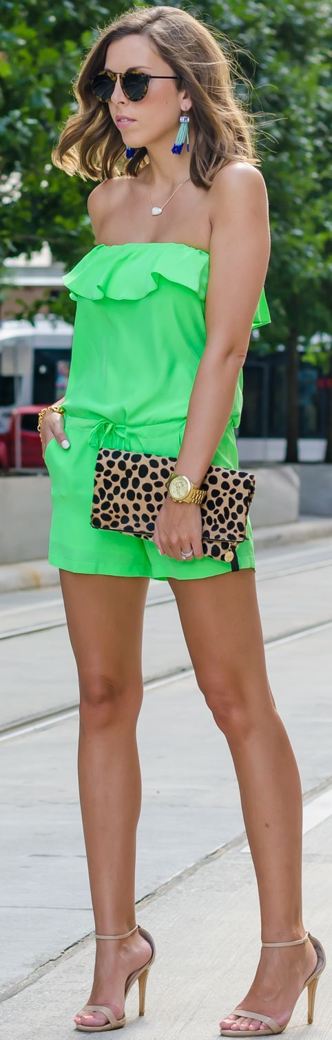 Neon Green Ruffle Off Shoulder Romper by For The Love Of Fancy
