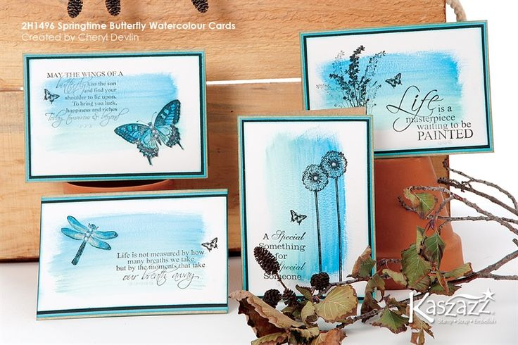 2H1496 Springtime Butterfly Watercolour Cards