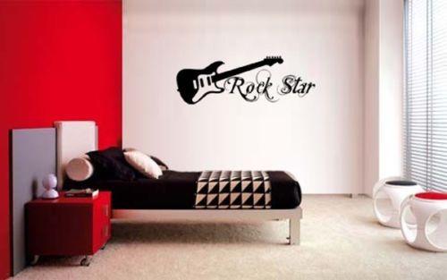 GUITAR-ROCK-STAR-DECAL-WALL-VINYL-DECOR-STICKER-BEDROOM-MUSIC-KIDS-CHILDREN-ART