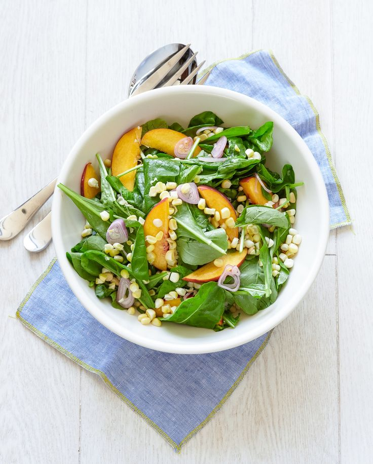 Arugula Salad with Peaches, Corn, and Pickled Shallots