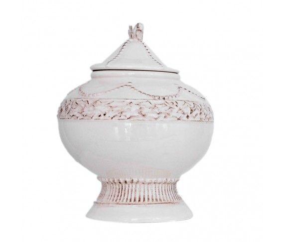 9,10 € - Biscottiera bianca con decori natalizi vintage, realizzata in ceramica, dimensioni cm. 15,5.