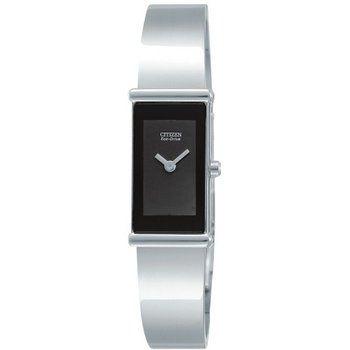 Montre+Citizen+Eco-Drive+pour+Femme+en+acier+inoxydable.++Bracelet+rigide.+Cadran+noir.+Étanche.+Boucle+repliable