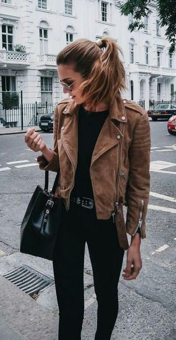 street style. suede brown jacket. black tee, denim.