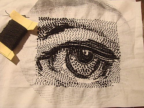 embroidered eye - black & white