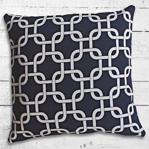 Cushions from Cushionopoly - Linked Midnight Blue cushion cover. From the Beach House collection