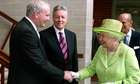 The Queen shakes hands with Northern Ireland deputy first minister Martin McGuinness