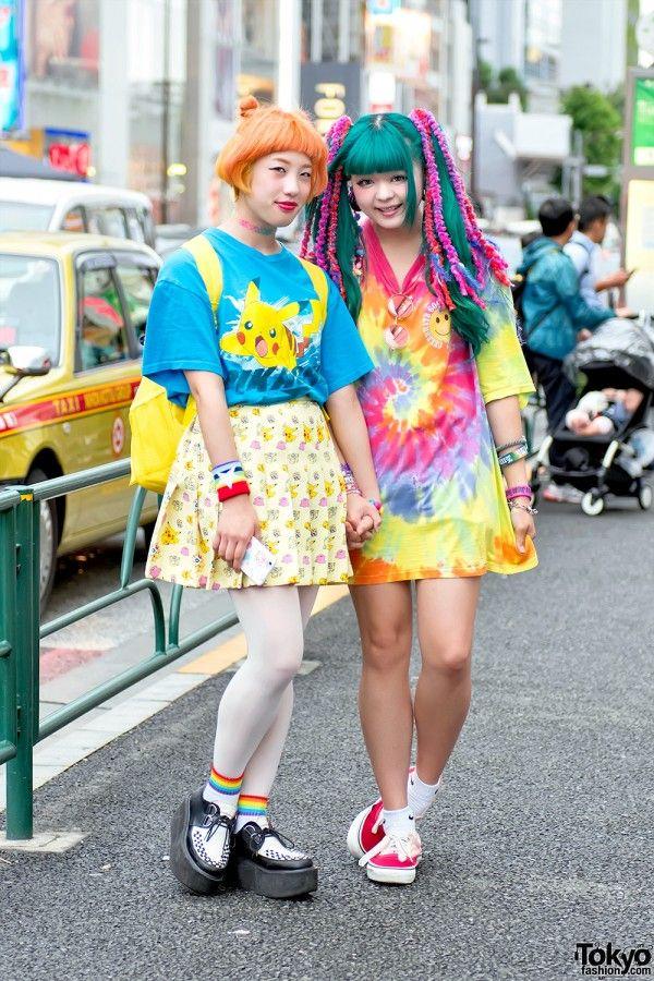 Harajuku Girls w/ Colorful Hair in Pokemon Fashion & Tie Dye