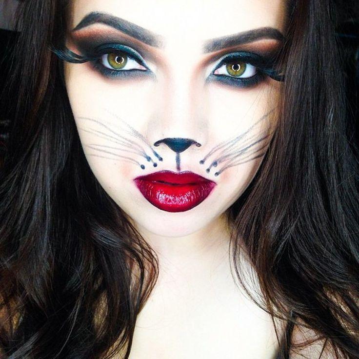 Maquillage de Halloween minimaliste dinspiration fashion ,. Maquillage simple à réaliser