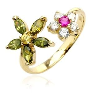 10K Solid YELLOW GOLD Toering Adjustable Toe Rings Body Jewelry *GEMMED FLOWERS