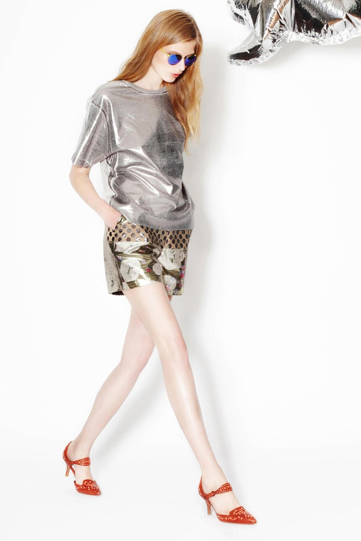 Cynthia Rowley Resort 2013, The Metallic sheen interplays beautifully with cropped floral shorts.
