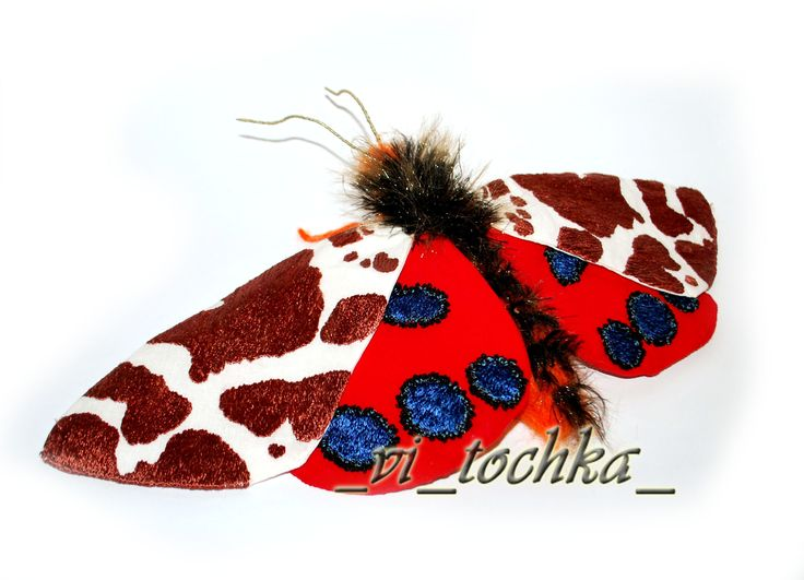 Arctia caja, butterfly, embroidery, sculpture, fiber-art: