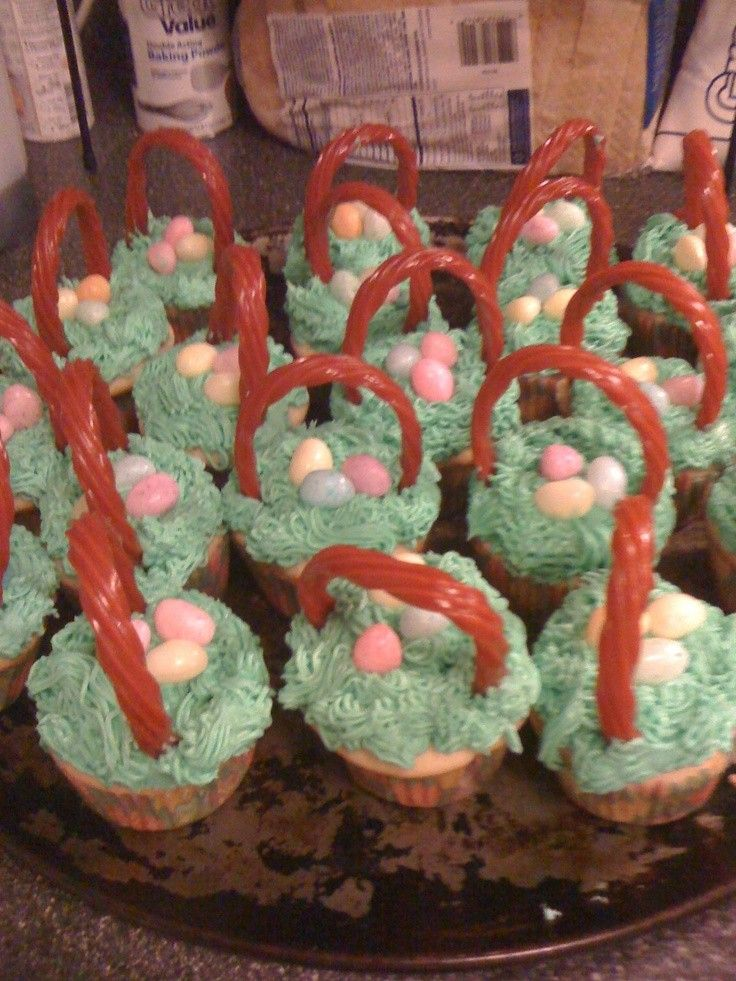 16 best easter basket cupcakes images on pinterest easter baskets green cream easter basket cupcakes easter eggs decorated basket cupcakes easter basket cupcake recipe negle Images