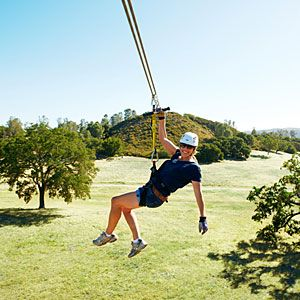 Ancient Peaks Winery near Paso Robles, CA offers zipline tours with views of vineyards and the Santa Lucia Mountains.