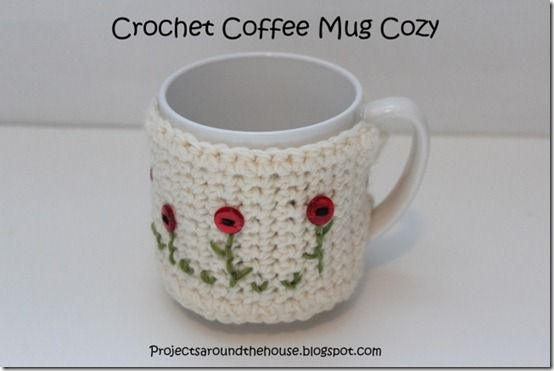 crochet coffee mug cozy...link to pattern, love the flowers she put on!