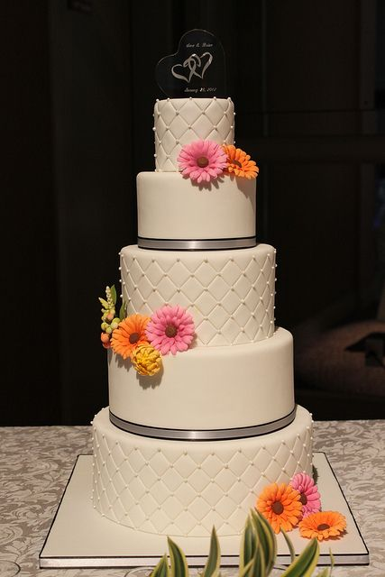 Quilted Wedding cake with Gerbera Daisies by Andrea's SweetCakes