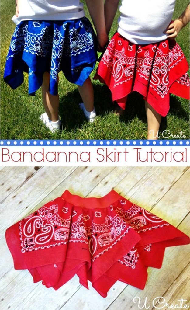Homemade Easy Skirt for Little Girls | Bandanna Skirt by DIY Ready at www.diyready.com/15-diy-clothes-for-kids-you-should-make/