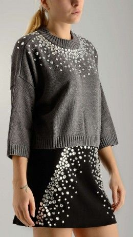 Jewelled neck grey cropped jumper
