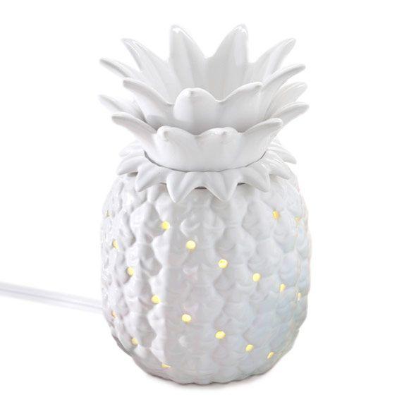 ScentGlow™-Elektrische Duftlampe Ananas von PartyLite, Glasierte Keramik mit abnehmbarem Aufsatz. H: 16 cm. Mit Ein/Aus-Schalter. Für Scent Plus™ Melts.