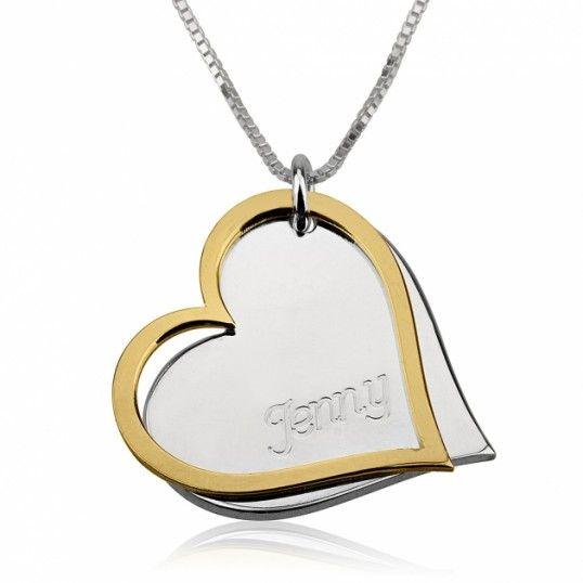 Collar Silueta de Corazón Dorado sobre Corazón con Nombre en Plata de Ley