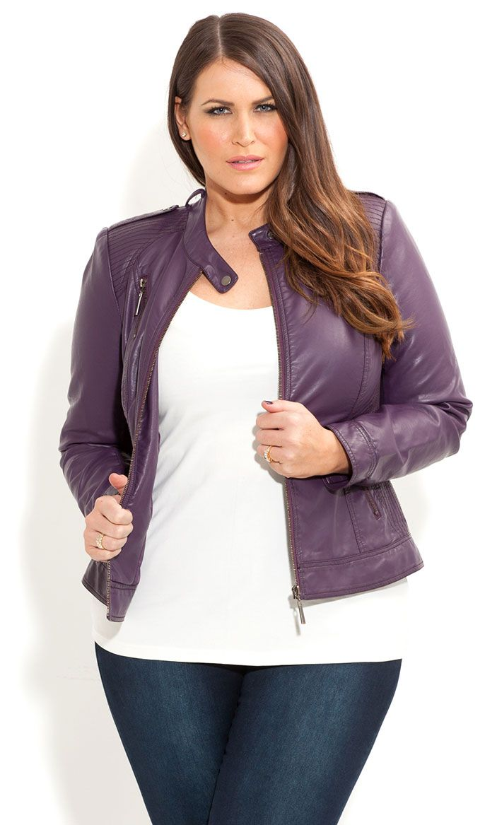 City Chic - HARLOW BIKER JACKET - Women's plus size fashion [ HGNJShoppingMall.com ] #plussizeclothing