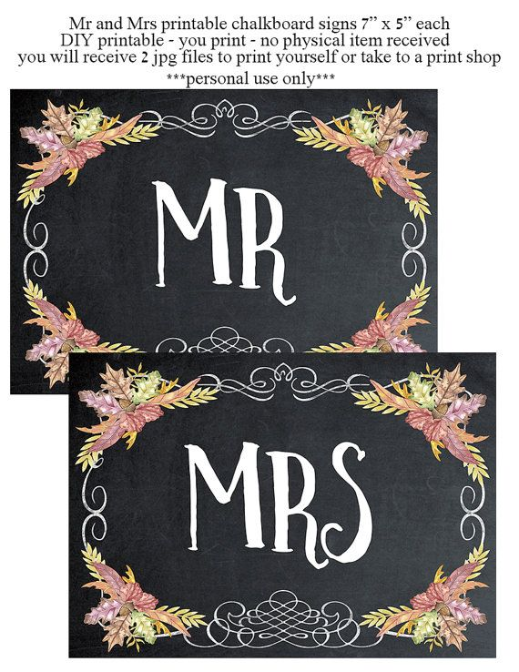 printable Mr Mrs signs  chalkboard wedding by OurFriendsEclectic