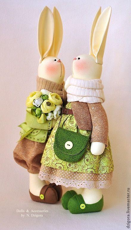 Купить С весной в душе, с любовью в сердце... - оливковый, зайцы, кролики, зайцы тильда, парочка