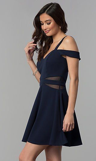 efb8bb841 Shop midnight blue wedding-guest dresses at Simply Dresses. Short semi-formal  party dresses by Speechless with cold-shoulder sweetheart necklines, ...
