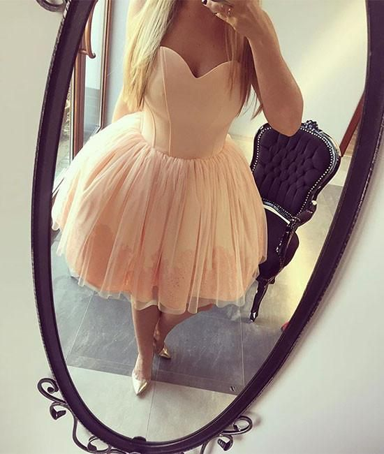 Strapless Homecoming Dresses,Sweetheart Homecoming Dresses,Ball Gown Homecoming Dresses,Orange Homecoming Dresses,Short Homecoming Dresses,Fashion Homecoming Dresses,Short Prom Dress