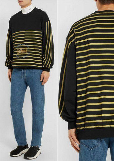 Balenciaga Oversized Embroidered Striped Cotton-Jersey Sweatshirt 078e04453730
