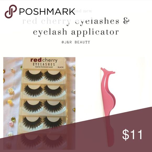 Red cherry eyelashes + eyelash applicator All brand new include  Red cherry eyelashes  Brand new 5 pairs :) 100 % human hair Eyelash Applicator  All brand new 5 pairs  # tags Iconic, mink, red cherry eyelashes, house of lashes, doll, kawaii, case, full, natural,  Koko, Ardell, wispies, Demi , makeup, mascara, eyelash applicator, tweezers red cherry Makeup False Eyelashes