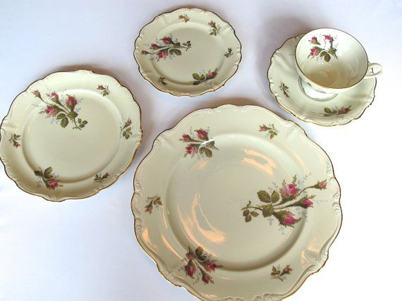 ROSENTHAL Selb Germany Pompadour MOSS ROSE China Set Rare Retired 64 pc. & 87 best Plates Glass China images on Pinterest   Vintage perfume ...