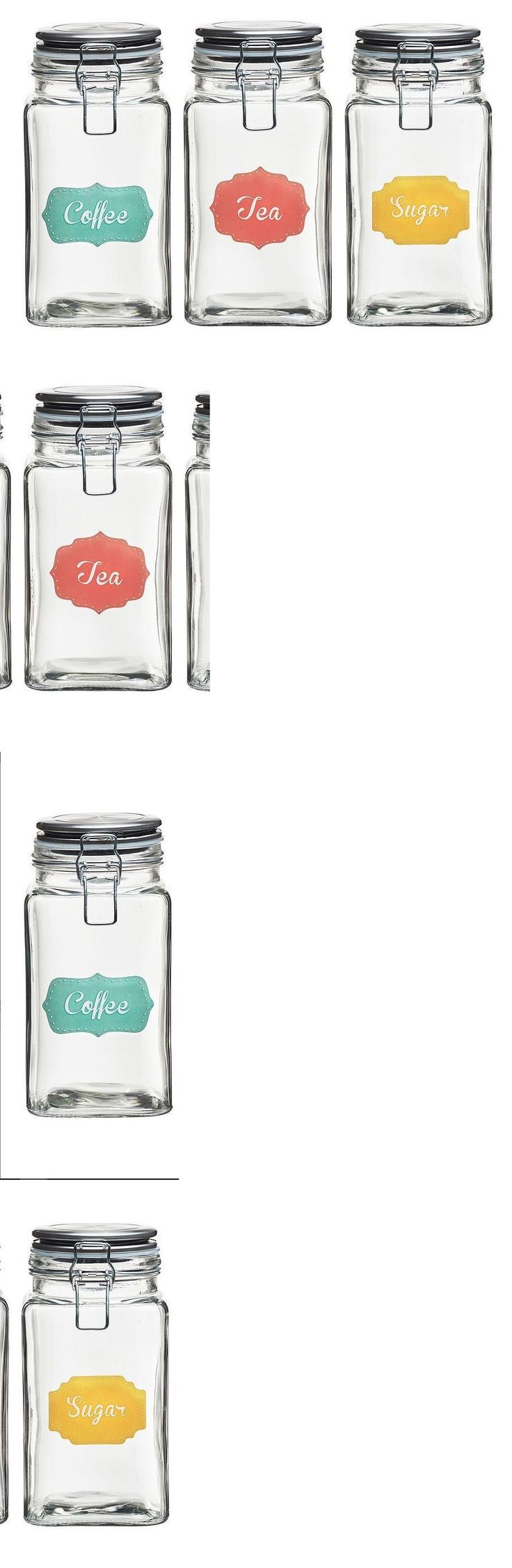 Canisters and Jars 20654: Jars Label Colors Shine 3-Pc. Hermetic Glass Storage Jar Set Coffee Tea Sugar -> BUY IT NOW ONLY: $69.99 on eBay!