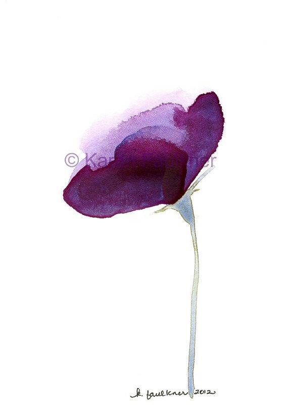 Lisianthus Flower original watercolor painting by Karen Faulkner